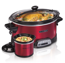Slow Cooker 7 Quart Programmable With Party Dipper Lid Easy Clean Dishwasher Red