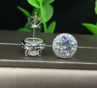 2.10Ct Round Cut Moissanite Diamond Halo Stud Earrings 14k White Gold Finish