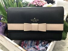 Kate Spade Kirk Park Veronique Saffiano Leather Crossbody Bag Clutch Black Beige