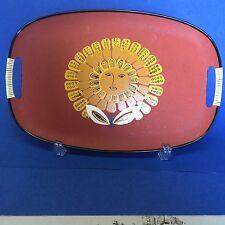 Vtg Mid Century Japan Masonite Serving Tray Platter Sun Face Flower 12x18 in