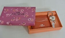 NIB Coach Gift Set Of Card Case+Valet Keyring Red/White Color Leather Great Gift