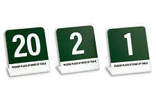 """Plastic Table Numbers, """"L"""" Style 1-20, Green w/White, 4"""" Tall, Free Shipping"""