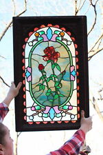 Antique 19thC carved Wood Frame & Jeweled Leaded Stained Glass Window, Nr