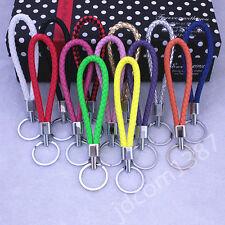 Fashion Braided PU Leather Strap Keyring Keychain Key Chain Ring Key Fob