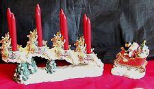 Christmas Santa Reindeer Candle Holder Holiday Porcelain Large Set Kirkland