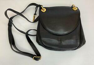 Black leather Goldpfeil Handmade in Germany handbag, shoulder bag