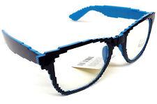 BLUE BLACK PIXELATED 8 BIT CLEAR LENS SQUARE SUNGLASSES NERD PIXEL RETRO GEEK