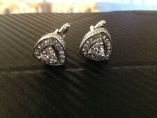 Rome Royal Silver cufflinks with white stone edged with 18 cubic zirconia stones