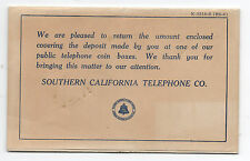 1910 Southern California Telephone Co Coin Envelope for Deposit at Telephone Box