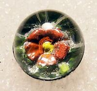 Vintage Red Daisy Paperweight Glass Button Glass Shank