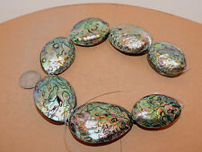 Paua Abalone Large Shell Beads New Zealand 7 piece strand over 1 inch (11963)