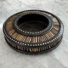 19th C. Anglo Indian Hand Carved Ebonized Wood Bowl with Quills and Inlay Detail