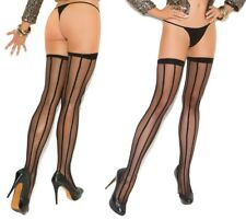 Elegant Moments Black Vertical Stripe Thigh Hi Stockings - One Size