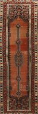Antique Pre-1900 Geometric Hamedan Hand-knotted Runner Rug Oriental Carpet 4x10