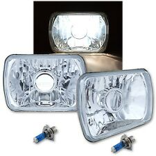7X6 Halogen Projector Crystal Clear Glass Headlights Headlamp H4 Light Bulbs Pr