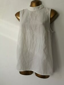 Blouse 8 White satin High Neck Sleeveless Lace Back French Connection Top