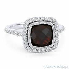 Halo Right-Hand Ring in 14k White Gold 3.52 ct Cushion Cut Garnet & Diamond Pave