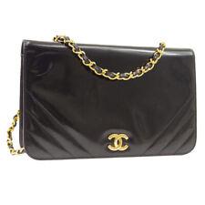 CHANEL CC Single Chain Shoulder Bag Purse Black Patent Leather 0335707 A46578k