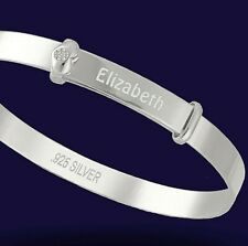 Personalised 925 Solid Silver Baby's Real Diamond Expanding Bangle Bracelet