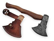 """CUSTOM HAND FORGED DAMASCUS STEEL ROSE WOOD 18"""" TOMAHAWK AXE WITH LEATHER SHEATH"""