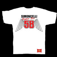 """Marco Simoncelli 58 """"alas"""" Moto GP camiseta blanca Sm a XXXL"""