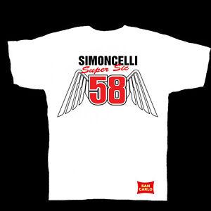 Marco Simoncelli 58 `Wings` moto gp T-Shirt White  SM to XXXL