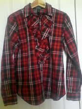 Ralph Lauren M blouse red/black/white plaid ruffle front long sleeve $9.99