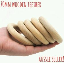 3 large unfinished natural wooden 70mm round ring3 DIY teething craft baby bunny