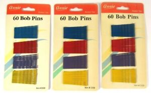 """Annie 60 Bob Pins Lot 3 180 Total 2"""" Assorted Color #3306 Crimped & Ball Tipped"""
