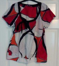 Monsoon Ladies Womens Cotton Silk Cream Red Orange Short Sleeve Top Size 14