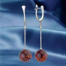 Russische Silber Ohrringe mit Bernstein  Silber 925° BALL KUGEL Neu Glänzend.