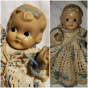 """Antique 7"""" Composition Doll Molded Hair & Bow Crochet Dress"""