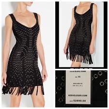 50% OFF Herve Leger dress Sz XS black studded fringe