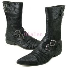 Retro Men's Suede Pointed Toe Buckle British High Top Mid Calf Boots Zipper Shoe