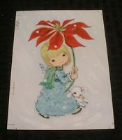 "CHRISTMAS Cute Girl w/ Lamb & Poinsettia 4.5x6.25"" Greeting Card Art #813"