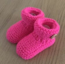 NEW - HAND KNITTED BABY BOOTEES - BRIGHT PINK - NEWBORN