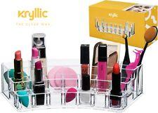 Acrylic Lipstick & Brush Display Holder Beautiful Multi Section Makeup Organizer