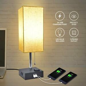 Nice 2 USB Port Outlet Bedside Lamp with Linen Shade and Inlcuded LED Light Bulb