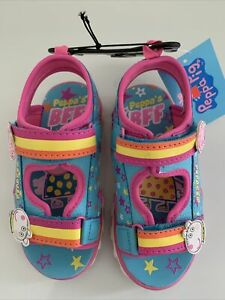 Peppa Pig Toddler Girls Sandals Slippers Shoes BESTIES Blue Pink White ⭐️ Size 8