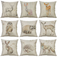 18'' Drawing Animal Pillow Case Cotton Linen Sofa Cushion Cover Home Decor