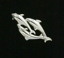 END OF LINE - STERLING SILVER BROOCH - THREE DOLPHINS - PLAIN SILVER BROOCH