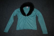 Women's Blue Cardigan - Living Doll - Blue with Detachable Collar - Size M