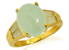 Women's Light Green Jade Ring in 14k Solid Real Yellow Gold