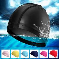 Men Elastic Waterproof Swimming Cap Bathing Hat Lycra Fabric Women Soft Fit