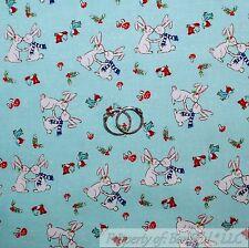 BonEful FABRIC Cotton Quilt Blue White Red Bunny Rabbit Mushroom Bird USA SCRAP