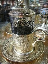 Authentic Turkish Tea Water Sherbet Serving Cup Glass Saucer Cover Ottoman Gold