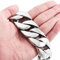 "26mm Heavy Mens Boys 316L Stainless Steel Cuban Curb Link Silver Bracelet 8.5"""