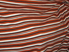 tissu maille jersey rayé blanc chocolat rouille en 160 cm de large au mètre