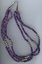 VINTAGE MEXICO THREE STRAND STERLING SILVER & AMETHYST BEADS NECKLACE