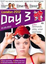 PARALYMPIC GAMES DAY 3 THREE DAILY PROGRAMME LONDON 2012